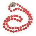 Oxblood coral ruby turquoise  gold necklace