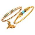 Yellow gold  turqouise jewelry