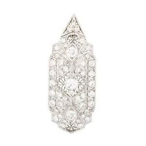 Art deco diamond  platinum broochpendant