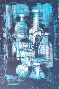 Paul Maxwell Signed Lithograph Blue Bottles 2