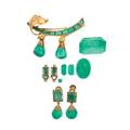 Emerald  gold jewelry fragments  unmounted emeralds