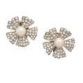 Marianne ostier diamond pearl  platinum ear clips