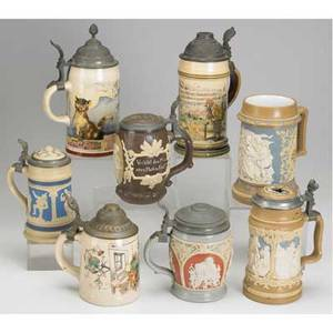 Mettlach steins eight villeroy  boch steins include numbers 1909 1526 2140 painted under glaze and numbers 202 2240 1266 1028 812 cameo or relief decorated one missing lid one with damaged li