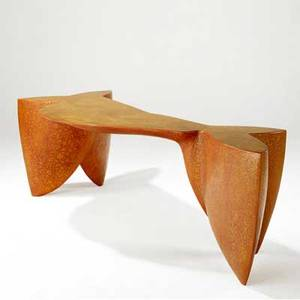 Wendell castle sculptural singledrawer desk with birds eye maple top on fiberglass base signed castle 96 30 x 87 x 35