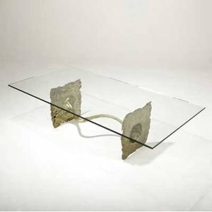 Silas seandel coffee table with glass top over patinated bronze base 16 x 60 x 30