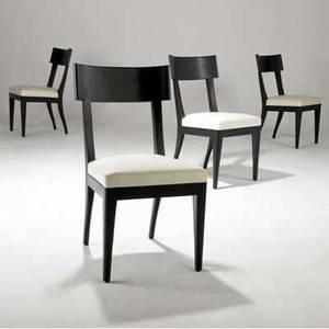 Christian liaigre  holly hunt set of four side chairs with white fabric cushions on ebonized wood frames 34 12 x 18 x 21