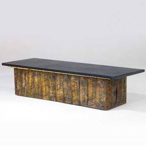 Paul evans coffee table with slate top and gilded wood apron on pierced and patinated steel base 14 x 60 x 20