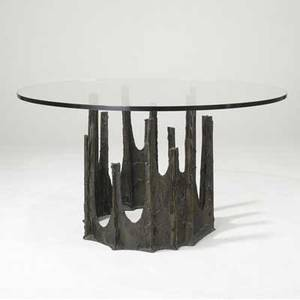 Paul evans dining table with circular glass top over sculpted bronze stalagtite base 1969 signed pe 69 29 12 x 54 dia