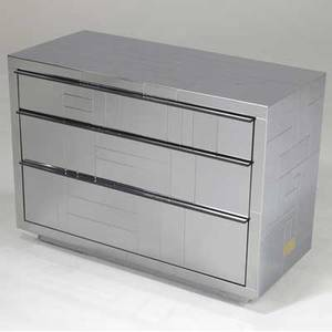 Paul evans cityscape chest in polished chrome with three drawers an original paul evans brass tag 26 x 36 x 17