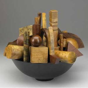 Hap sakwa sculpture of assorted turned wood elements within ebonized bowl signed hap sakwa 984 14 x 18 x 16
