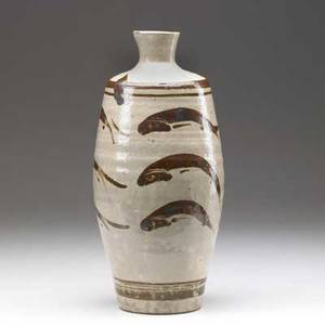 Bernard leach ceramic vessel covered in cream glaze with bronze fish designs signed bl with artists cipher 12 12 x 5 12 dia