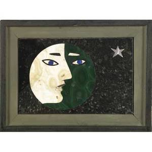 Richard blow  montici pietra dura picture of moon with face silhouette and star in malachite and other mixed hardstones signed richard blow montici 69 sight 5 14 x 3 12 framed 7 x 5 14