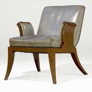 Tommy parzinger armchair with brass tacking to pale blue leather upholstery on figured veneer base from the estate of karl drerup 28 x 23 12 x 27