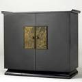 James mont  stromberg carlson stereo cabinet in black lacquer finish with chinesemotif embossed panels stromberg carlson metal tag fitted with stromberg carlson stereo 35 x 39 12 x 19 14