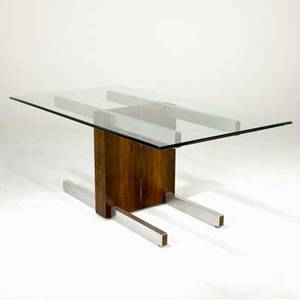 Vladimir kagan dining table with glass top over rosewood and chromed steel base with two 13 rosewood leaves not pictured 29 14 x 71 12 x 40