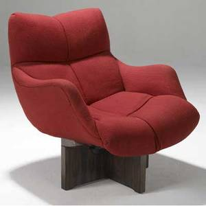Vladimir kagan lounge chair upholstered in red wool on rosewood swivel base 32 x 27 x 32