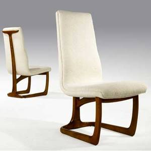 Vladimir kagan pair of sculpted walnut highback chairs upholstered in donghia white boucle 42 x 19 x 26