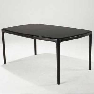 Edward wormley  dunbar dining table in darkly stained wood with figured top with two 18 leaves brass dunbar d tag 29 x 65 x 42