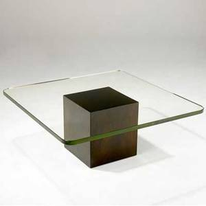 Dunbar coffee table with glass top over walnut cube base in original stained finish green metal dunbar tag 15 12 x 38