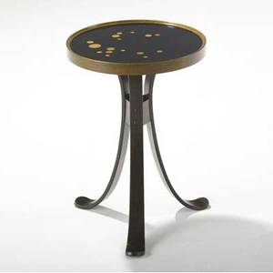 Edward wormley  dunbar constellation occasional table with circular wood inlays to black lacquered top on molded walnut base dunbar brass tag 19 x 13 dia