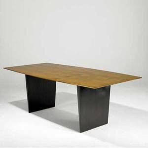 Edward wormley  dunbar dining table with bookmatched walnut top on dark stained base with three 12 leaves dunbar brass tag 29 x 84 x 42