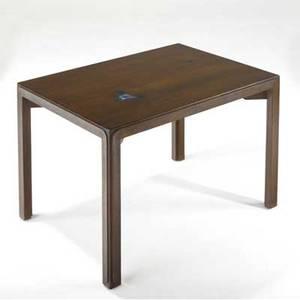 Edward wormley  dunbar rectangular walnut occasional table inset with inset tiffany glass tiles dunbar brass tag 21 12 x 30 x 22