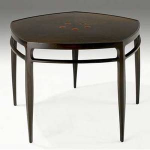 Edward wormley  dunbar dining table with hexagonal radiating marquetry top inlaid with natzler red glazed ceramic tiles 28 14 x 38 12