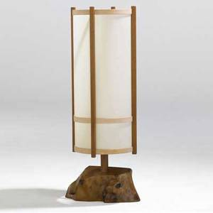 George nakashima table lamp with cylindrical paper shade over single socket on walnut frame and burlwood baseprovenance available 38 34 x 15 12 x 13