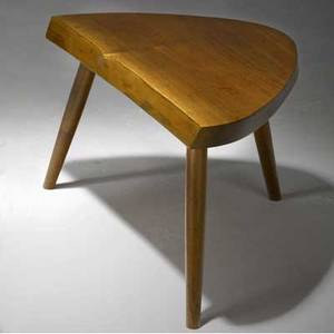 George nakashima early walnut plank stool en suite with preceding accompanied by copy of original purchase order from nakashima studio provenance available 12 x 21 12 x 14