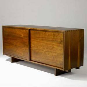 George nakashima early walnut cabinet with two sliding doors enclosing three drawers 1956 accompanied by copy of original purchase order from nakashima studio provenance available 31 34 x 72