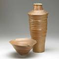 Mary roehm flaring woodfired porcelain vessel with torn rim and incision to footrim along with tall woodfired porcelain vase both signed with artists cipher 5 x 10 14 dia 19 x 8 12 dia