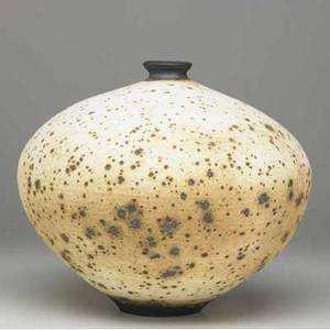 Vivika and otto heino large stoneware vessel with applewood brown speckled decoration the interior and foot covered in deep brown signed vivika  otto 12 x 14 dia