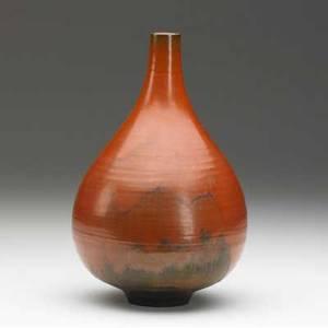 Natzler teardropshaped bottle covered in orange uranium glaze signed natzer 9 14 x 5 12 dia