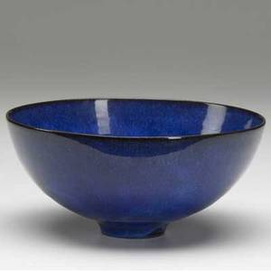 Natzler fine ceramic bowl covered in lapis blue glaze signed natzler with original inventory number k292 3 14 x 7 dia