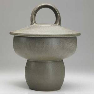 Chris gustin large covered footed ceramic jar covered in mottled gray glaze with white interior signed gustin 15 x 12 dia