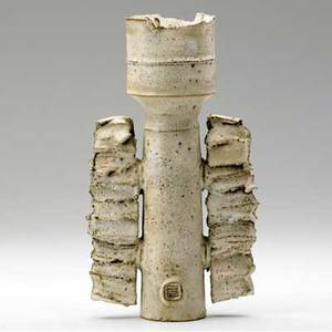 Colin pearson winged stoneware vase covered in white volcanic glaze marked with artists cipher 12 x 6 12 x 3 12