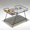 Salvador dali  maurice duchin side table with six glazed ceramic tiles on black enameled steel wire base tiles stamped maurice duchin 18 x 25 14 x 17 14