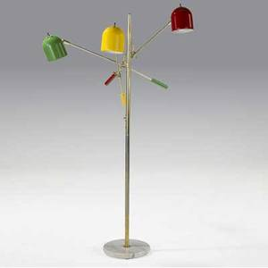 Modern floor lamp with three adjustable enameled metal shades in red yellow and green on brass stem and marble base 60 x 39 dia