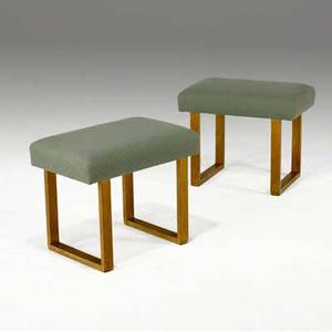 Eliel saarinen  johnson furniture co pair of small upholstered benches on angular wood frames 18 12 x 23 x 15