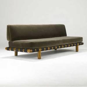 Th robsjohngibbings  widdicomb sofa upholstered in gray mohair over black nylon webbing on walnut frame 31 12 x 92 x 33