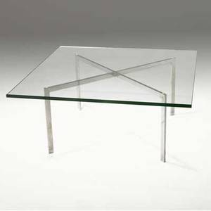 Ludwig mies van der rohe barcelona table with glass top over polished steel base 17 x 40