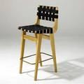 Henry kahn  hans g knoll early bar stool with black fabric webbing over maple frame with tubular brass stretcher 39 34 x 16 x 18