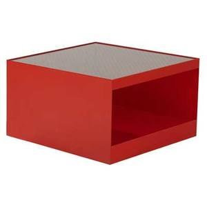 Joe durso  knoll side table with glass top over red enameled metal base 16 14 x 26 34