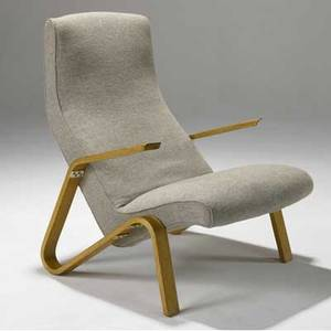 Eero saarinen  knoll grasshopper lounge chair upholstered in wool fabric on birch plywood frame 35 x 29 x 30