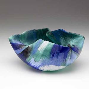 Toots zynsky bowl of fused glass threads in green black white and shades of blue monogrammed z to base 6 x 12 x 6