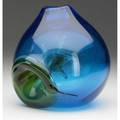 Joel philip myers blue blown glass vase with green internal decoration engraved joel philip myers 7 12 x 7 x 6 12
