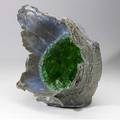 Steve tobin exploded earth sculpture with emerald green glass provenance private collection 19 12 x 18 x 14