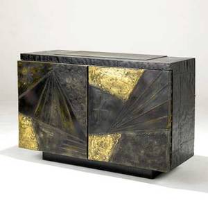 Paul evans cabinet in welded and patinated steel with inset slate top and two doors enclosing single interior shelf 1967 signed and dated 32 x 48 x 21