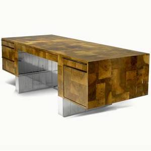 Paul evans cityscape doublepedestal desk with burlwood covering seven drawers and mirrored chrome paul evans script signature 29 12 x 84 x 36