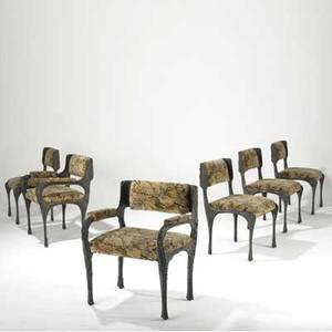 Paul evans set of six sculpted bronze dining chairs two arm and four side upholstered in original floral fabric 32 x 22 x 22
